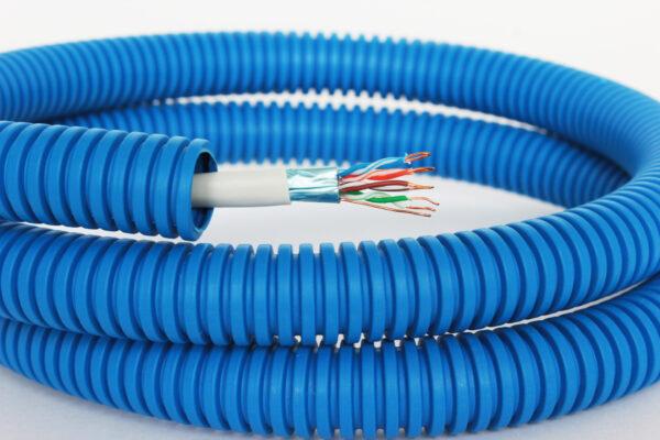 Интернет-кабель витая пара REXANT FTP , CAT5e в синей ППЛ гофре 16мм, 100 м.