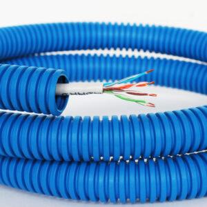 Интернет-кабель витая пара REXANT UTP, CAT5e в синей ППЛ гофре 16мм, 100 м.
